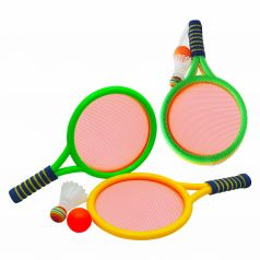 Набор для игры с мячом 1Toy 2 ракетки с сеткой, волан, мячик