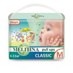 Подгузники-трусики Melitina Cl.M, 6-11 кг, 3, 36 шт