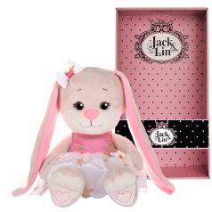 Мягкая игрушка Jack&Lin Зайка в Бело-Розовом Платьице со Звездочками 20 см