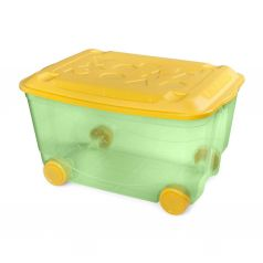 Пластишка ящик универсальный для игрушек на колесах с крышкой штабелируемый