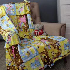 Плед 110*140 см Пэчворк цвет: коричневый/желтый