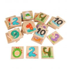 Мемо-игра Игрушки из дерева Дино-цифры