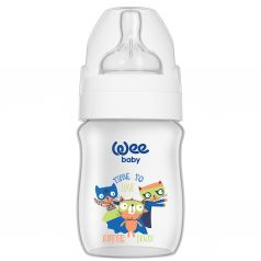 Бутылочка WeeBaby Classic Plus для кормления с широким горлышком из ПП, 150 мл., Коты