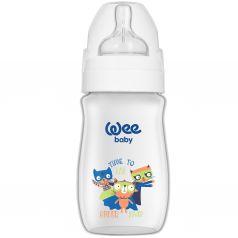 Бутылочка WeeBaby Classic Plus для кормления с широким горлышком из ПП, 250 мл., Коты