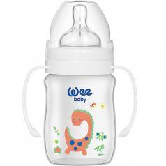 Бутылочка WeeBaby Classic Plus для кормления из ПП с широким горлышком и ручками 150мл.,Динозаврик