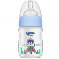 Бутылочка WeeBaby Classic Plus для кормления с широким горлышком из ПП, 150 мл., Супермен
