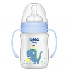 Бутылочка WeeBaby Classic Plus для кормления из ПП с широким горлышком и ручками 150мл.,Син.Динозавр