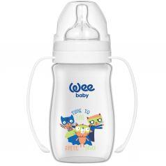Бутылочка WeeBaby Classic Plus для кормления из ПП с широким горлышком и ручками 250 мл., Коты