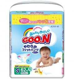 Подгузники-трусики Goon S для девочек (5-9 кг) 62 шт.