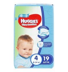Подгузники Huggies Ultra Comfort 4 для мальчиков (8-14 кг) 19 шт.