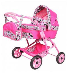 Коляска для кукол Wakart Юля розовая с цветами