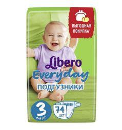 Подгузники Libero Everyday Size 3 (4-9 кг) 74 шт.