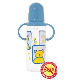 Бутылочка Курносики С ручками полипропилен, 250 мл, цвет: голубой