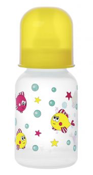 Бутылочка Курносики полипропилен, 125 мл, цвет: желтый