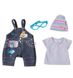 Одежда для кукол Baby Born черные штаны голубые очки