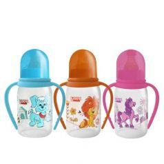 Бутылочка Lubby с ручками Веселые животные полипропилен с 0 мес, 250 мл, цвет: голубой