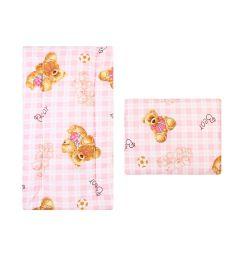 Leader Kids Комплект в коляску Мишки на клетке Матрас/Подушка 2 предмета 2-х спальный, цвет: розовый