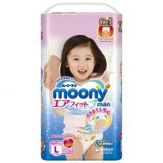 Подгузники-трусики Moony L для девочек (9-14 кг) 44 шт.