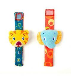 Погремушка Bright Starts Пара браслетиков на ручку - Слон и Тигр