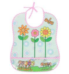 Слюнявчик Бусинка Цветные картинки, цвет: окантовка розовая