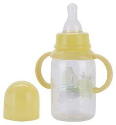 Бутылочка Курносики С ручками полипропилен, 125 мл, цвет: желтый