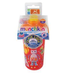 Поильник Munchkin Click Lock с трубочкой и крышкой, от года, цвет: красный/оранжевый