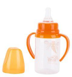Бутылочка Пома С ручками полипропилен, 140 мл, цвет: оранжевый