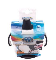 Поильник-непроливайка Canpol Little cow С ручками, от 9 мес, цвет: черный