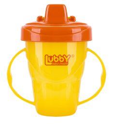 Поильник-непроливайка Lubby Классика с ручками и твердым носиком, от 6 мес, цвет: желтый