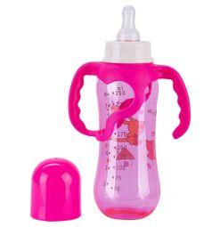 Бутылочка Бусинка Цветная пластик, 250 мл, цвет: розовый