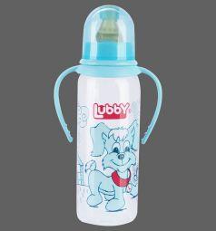 Бутылочка Lubby Веселые животные с ручками полипропилен с рождения, 250 мл, цвет: голубой
