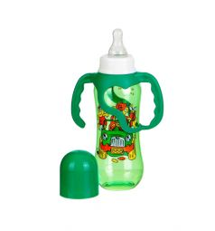 Бутылочка Бусинка Цветная пластик с 6 мес, 250 мл, цвет: зеленый