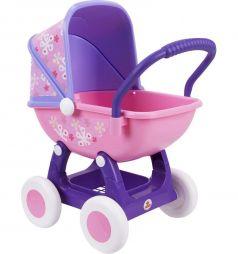 Коляска для кукол Coloma Y Pastor Arina №2 4-х колёсная розовая люлька фиолетовое основание