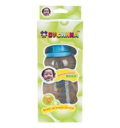 Бутылочка Бусинка С ручками стекло с 0 мес, 250 мл, цвет: голубой