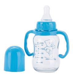 Бутылочка Бусинка С ручками стекло с 0 мес, 125 мл, цвет: голубой
