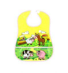 Нагрудник Бусинка Веселые животные, цвет: окантовка розовая