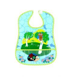 Нагрудник Бусинка Веселые животные, цвет: окантовка зеленая