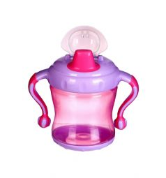Поильник-непроливайка Бусинка С ручками, от 6 мес, цвет: розовый