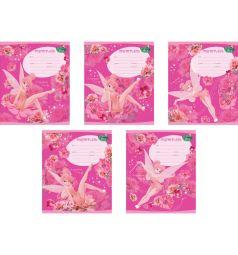 Школьная тетрадь А5 12 листов косая линейка Disney Tink Pink