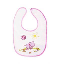 Слюнявчик Ням-Ням, цвет: белый/окантовка розовая