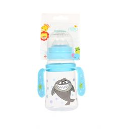 Бутылочка Ням-Ням для кормления с ручками полипропилен с 6 мес, 250 мл, цвет: голубой