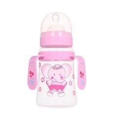 Бутылочка Ням-Ням для кормления с ручками полипропилен с 6 мес, 250 мл, цвет: розовый