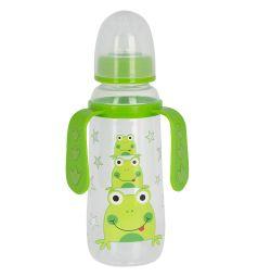 Бутылочка Ням-Ням для кормления с ручками полипропилен с 6 мес, 250 мл, цвет: зеленый