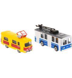 Набор машинок Технопарк Городской транспорт Трамвай и троллейбус 8 см