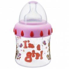 Бутылочка Bibi Little stars полипропилен, 150 мл, цвет: розовая