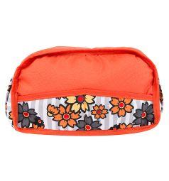Коляска для кукол Wakart Юля оранжевая с цветами