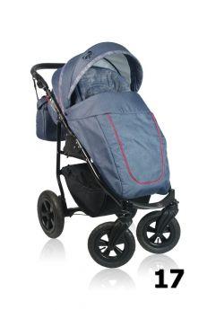 Прогулочная коляска Prampol Panda, цвет: джинс/красный