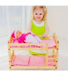 Кровать для кукол Paremo розовый текстиль