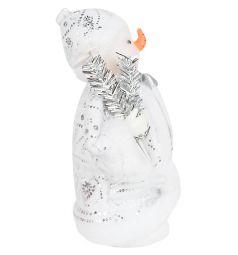 Кукла Новогодняя сказка Снеговик под елку серебряный 20 см