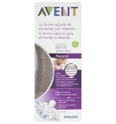 Бутылочка Avent Natural стекло с 1 мес, 240 мл, цвет: прозрачный